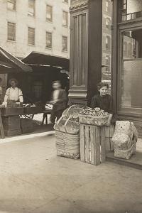Lena Lochiavo, 11, basket and pretzel seller at Sixth Street market, Cincinnati, Ohio, August 1908 by Lewis Wickes Hine