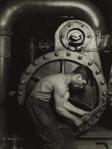 Mechanic and steam pipe, 1921 (silver gelatin print) by Lewis Wickes Hine