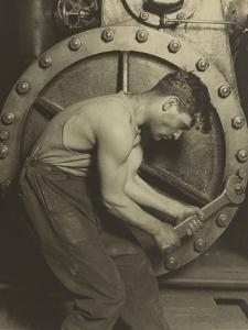 Mechanic and Steam Pump, 1921 by Lewis Wickes Hine
