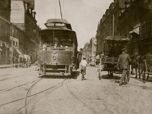 Trolleys and Cars by Lewis Wickes Hine