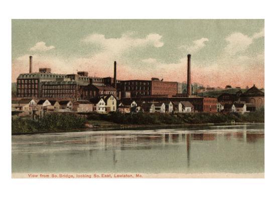 Lewiston, Maine, Southeastern View from the South Bridge-Lantern Press-Art Print