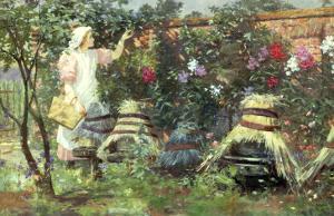 Picking Fruit in a Suffolk Garden by Lexden Lewis Pocock