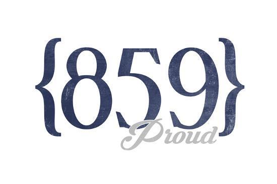 Lexington, Kentucky - 859 Area Code (Blue)-Lantern Press-Art Print