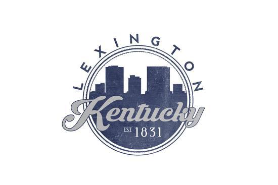 Lexington, Kentucky - Skyline Seal (Blue)-Lantern Press-Art Print
