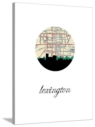 Lexington Map Skyline-Paperfinch 0-Stretched Canvas Print