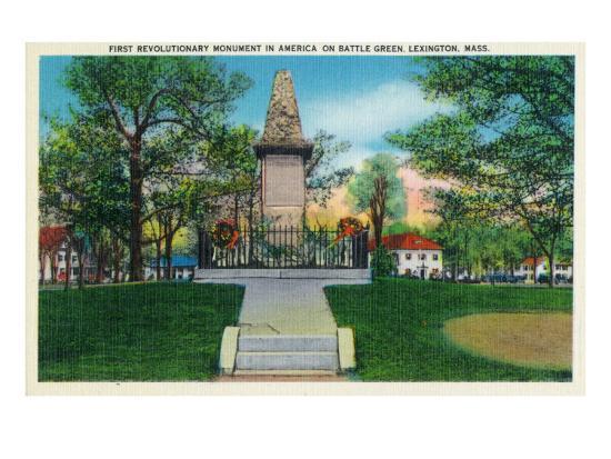 Lexington, Massachusetts - Battle Green Revolutionary Monument (America's First) View, c.1940-Lantern Press-Art Print