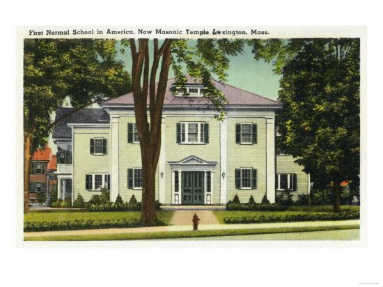 Lexington, Massachusetts - View of the 1st Normal School in America-Lantern Press-Art Print