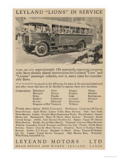 Leyland Lion Motor Bus--Giclee Print