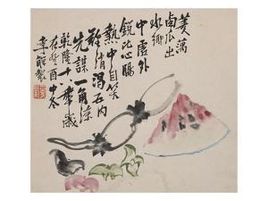 A Page (Melon) from Flowers and Bird, Vegetables and Fruits by Li Shan