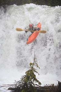 Kayaker Descending Waterfall Outside Of Crested Butte Colorado by Liam Doran