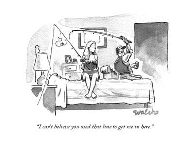 A couple in the bedroom role play casting fishing lines.  - New Yorker Cartoon by Liam Walsh