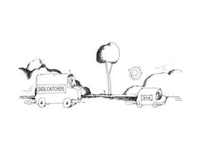 """A car labeled """"Dog Catcher"""" chases a car labeled """"Dog"""" that is driven by a... - New Yorker Cartoon by Liana Finck"""