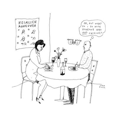 """A man on a date, seeing a poster for the Heimlich maneuver and thinking, """"... - New Yorker Cartoon by Liana Finck"""