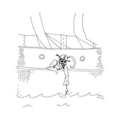 A pirate with a hook hand with a worm on it for bait. - New Yorker Cartoon by Liana Finck