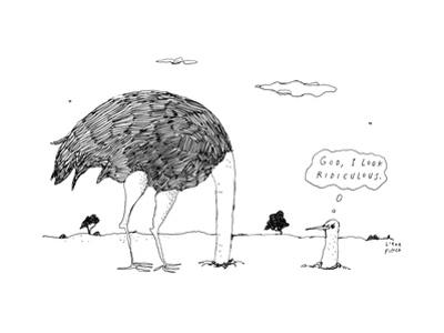 An ostrich, with its head in the ground, peaks back out at itself, and thi... - New Yorker Cartoon by Liana Finck
