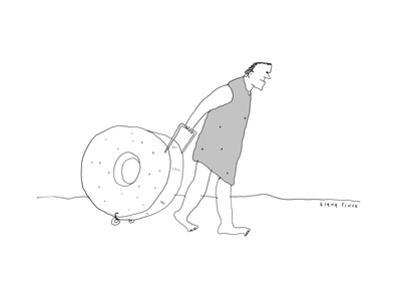 Cavemen wheels stone wheel suitcase. - New Yorker Cartoon by Liana Finck