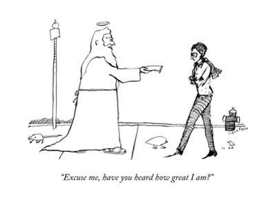 """""""Excuse me, have you heard how great I am?"""" - New Yorker Cartoon by Liana Finck"""