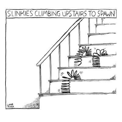 Slinkies Climbing Upstairs to Spawn features three slinkies sliding upstai… - New Yorker Cartoon by Liana Finck