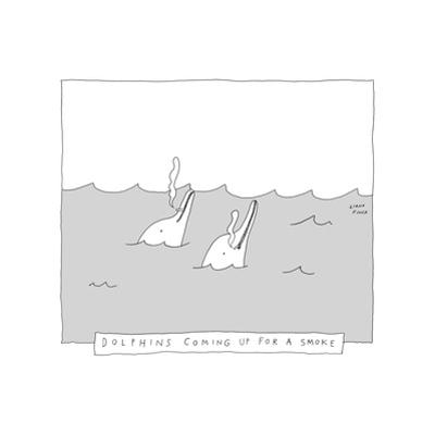 TITLE: Dolphins Coming Up For A Smoke Two dolphins smoking cigarettes. - New Yorker Cartoon by Liana Finck