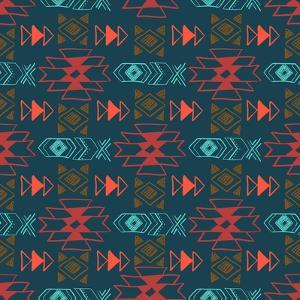 Native American Seamless Pattern with Abstract Aztec Symbols. Colored Hand Drawn Doodle Vector Back by Lianella