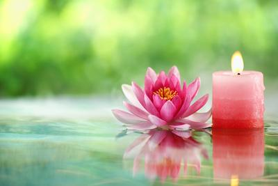 Burning Candle and Water Lily in Water.