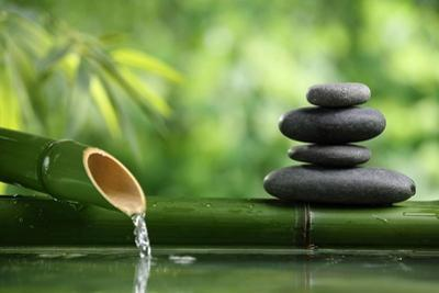 Spa Still Life With Bamboo Fountain And Zen Stone by Liang Zhang