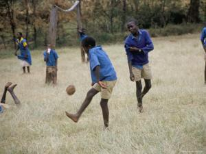 School Children Playing Football, Western Area, Kenya, East Africa, Africa by Liba Taylor