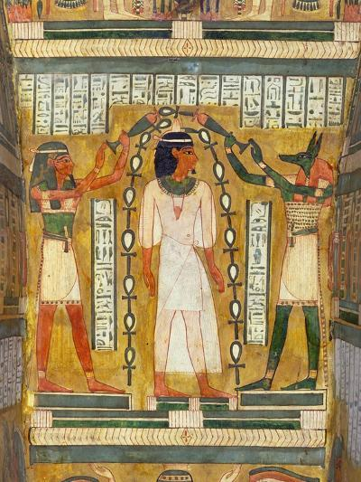 Libation of the Dead, Interior of the Sarcophagus of Amenemipet, Priest of the Cult of Amenophis-Egyptian 18th Dynasty-Giclee Print