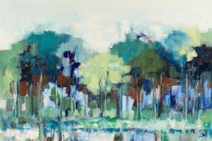 Blue Green Tree Reflections by Libby Smart