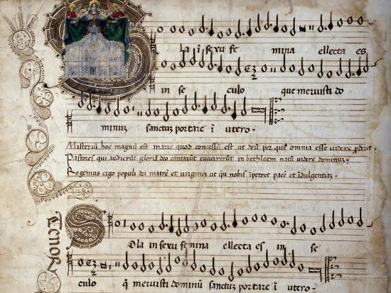 Liber Capella (Song Book) with Music Score of Mass for Four Voices by Heinrich Isaac (1445-1517)--Giclee Print