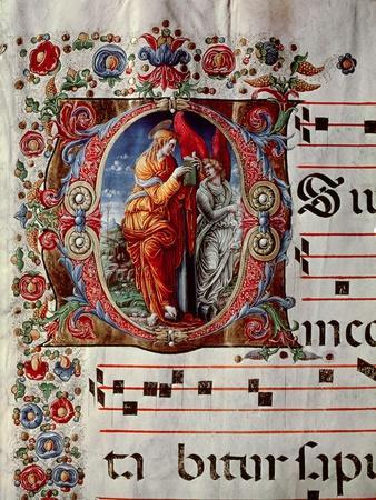 """The Annunciation, Historiated Initial """"O,"""" Detail of a Page from an Antiphonal, circa 1473-79"""