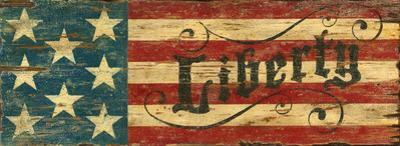 Liberty Red, White, Blue Flag Vintage Wood Sign