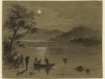 A Column of Confederate Troops Fording the Potomac River While Union Scouts Watch