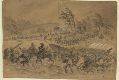Union Troops Slog Through Cold Rain While Attempting to Cross the Rappahannock River