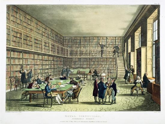 Library of the Royal Institution, Albermarle Street, London, 1808-1811-Thomas Rowlandson-Giclee Print
