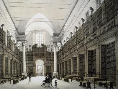 Library Room, University of Bologna, Lithograph, Italy, 19th Century--Giclee Print
