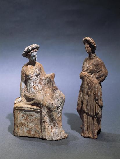 Libya, Cyrene, Terracotta Tanagrine Funeral Statuette in Form of Female Figures--Giclee Print