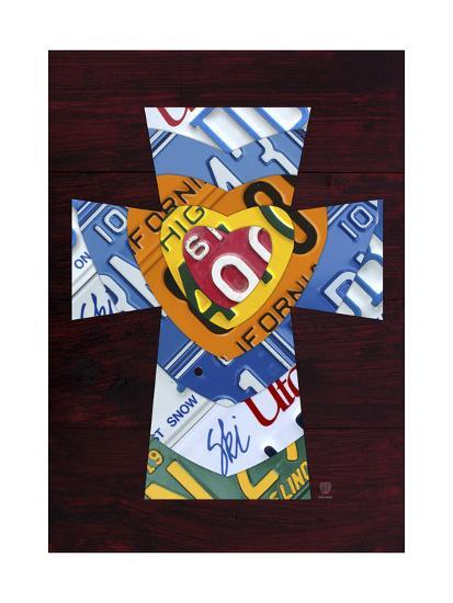 License Plate Art Heart Cross-Design Turnpike-Giclee Print
