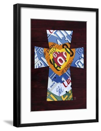 License Plate Art Heart Cross-Design Turnpike-Framed Giclee Print