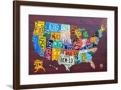 License Plate Map USA Large-Design Turnpike-Framed Giclee Print