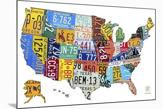 License Plate Map USA-Design Turnpike-Mounted Giclee Print
