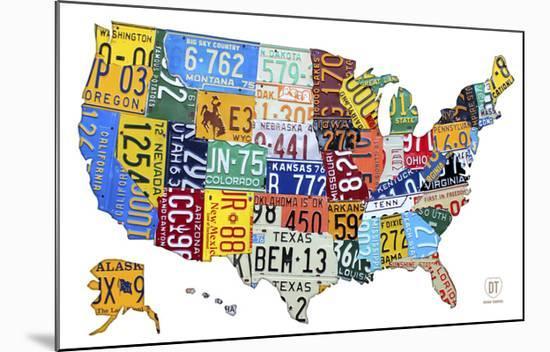License Plate Map USA-Design Turnpike-Mounted Art Print