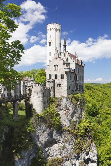Lichtenstein Castle in Spring, Swabian Alb, Baden Wurttemberg, Germany, Europe-Markus Lange-Photographic Print