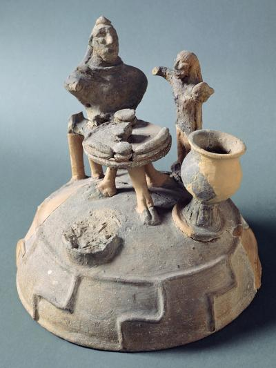 Lid of Fictile Cinerary Urn with a Banquet Scene. Etruscan Civilization.--Giclee Print