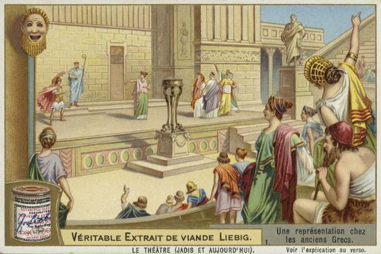 Liebig Card Featuring a Representation of Ancient Greek Theatre--Giclee Print