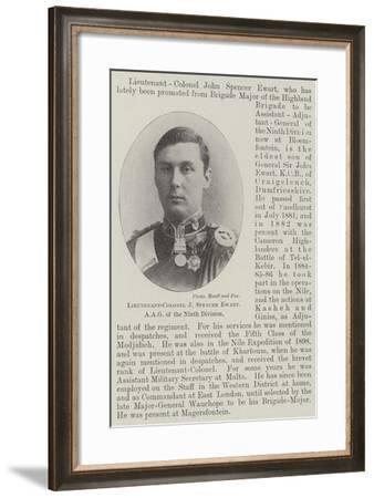 Lieutenant-Colonel J Spencer Ewart, Aag to the Ninth Division--Framed Giclee Print