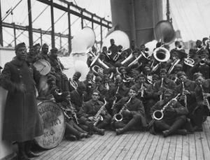 Lieutenant James Reese in Europe (Far Lef) with the Jazz Band of the 369th Infantry Regiment