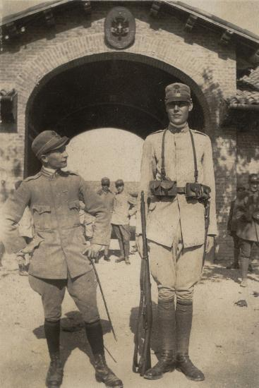 Lieutenant with Sentinel of the 26th Infantry Regiment--Photographic Print