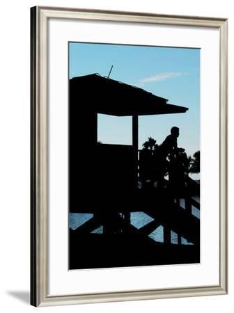 Life Guard Station at Sunset - Miami - Florida-Philippe Hugonnard-Framed Photographic Print