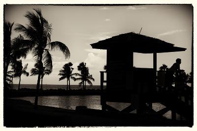 Life Guard Station at Sunset - Miami - Florida-Philippe Hugonnard-Photographic Print